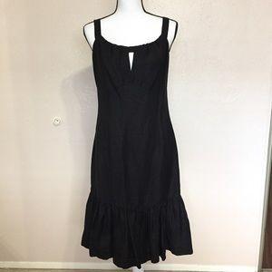 Michael Kors Black Linen Ruffle Dress